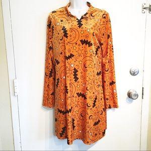 Halloween Moon & Bat Print Orange Velvet Dress